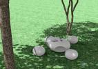 石头造型的创意桌椅组合家具