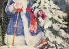 Merry Christmas复古风圣诞节主题插画设计