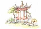 中国风亭子建筑水彩画图片