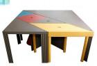 随意拼装的七巧板桌子,满足不同人数的用餐选择