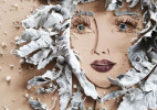 艺术家Vicki Rawlins用树枝和鲜花创作的肖像画