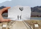 ben heine 手绘铅笔画与现实的合影