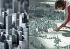 用订书针制作的城市模型 Peter Root创作