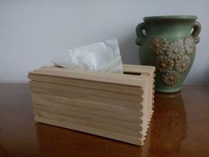 雪糕棒手工DIY 实用抽纸盒的做法图解教程