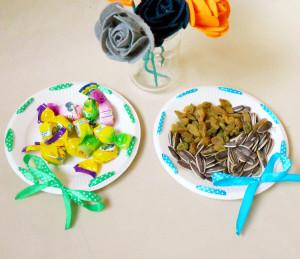 一次性纸盘装饰漂亮的糖果盘做法