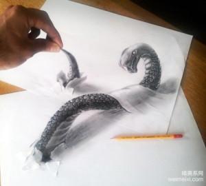 以假乱真的3D立体铅笔画,太逼真了