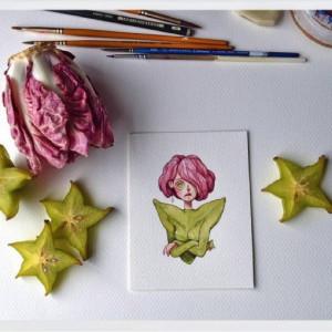 创意绘画:一片水果引发的画作