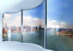 自动响应日照方向的曲面玻璃幕墙