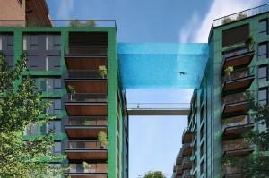 33米高悬在半空中透明玻璃游泳池 你敢游吗?