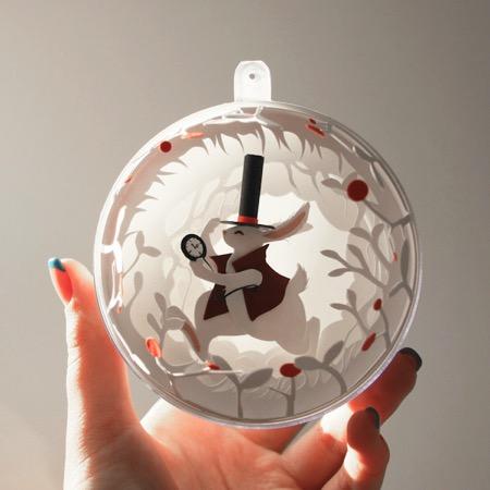 小球里的美妙剪纸小品