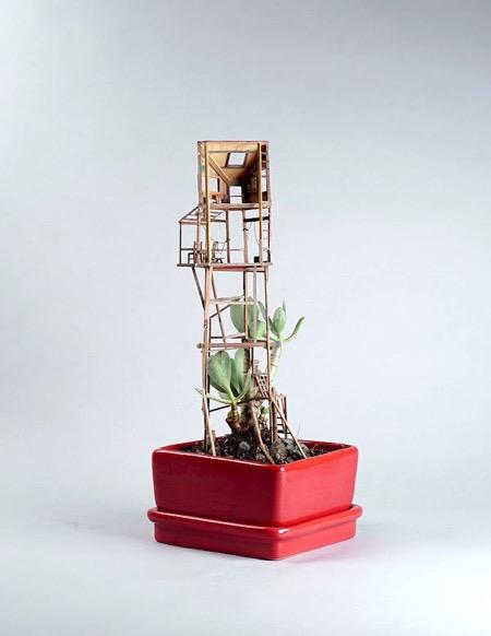 迷你盆栽创意树房子