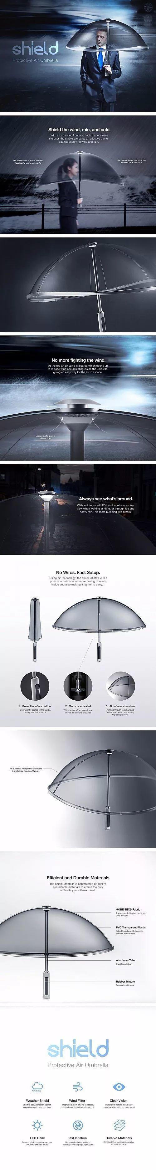 透明无伞骨充气雨伞Shield创意设计
