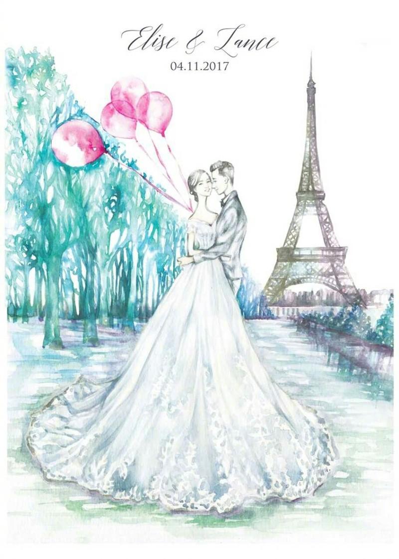郎才女貌的婚礼手绘水彩画图片