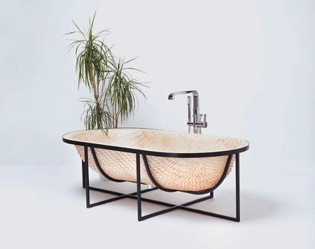 原生态木片编浴缸