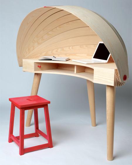 可伸缩木甲壳的概念书桌Duplex Workspace