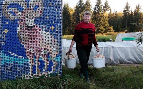 30000个瓶盖装饰壁画