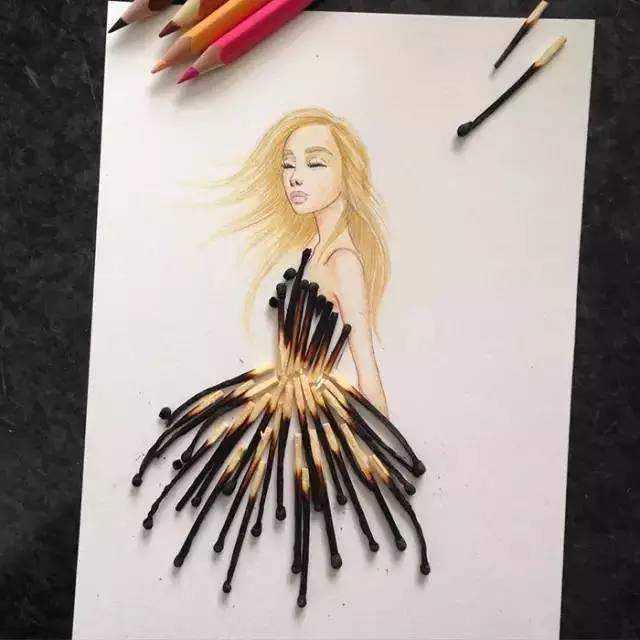 艺术家用烧过的火柴棒做衣服,超级漂亮