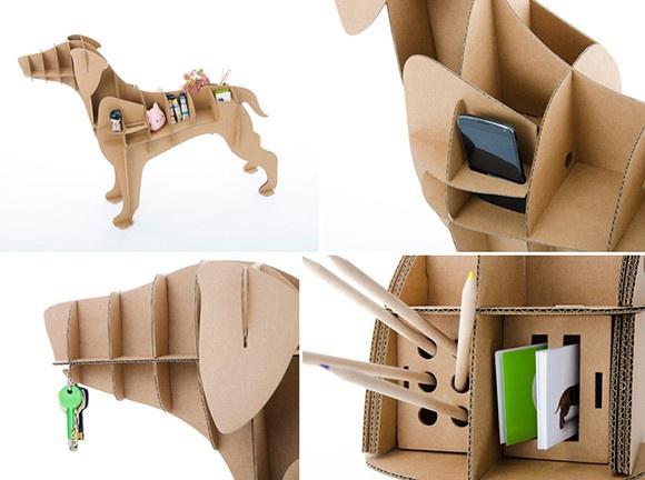 创意设计 超级有创意瓦楞纸小狗收纳盒