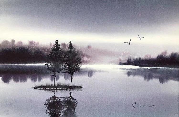 唯美的水彩画