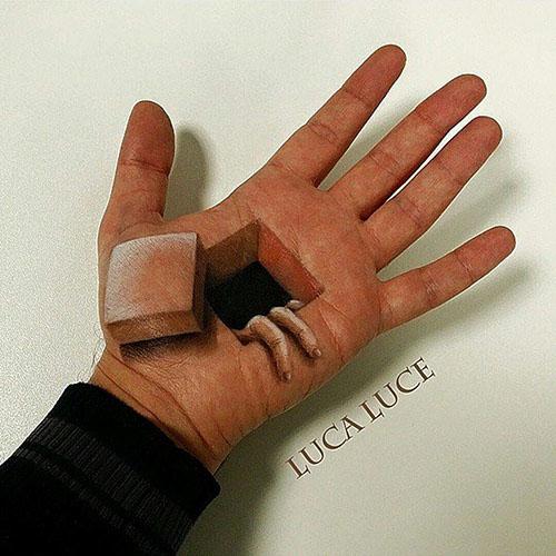 逼真手掌3D彩绘