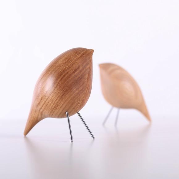 温馨的木鸟摆件
