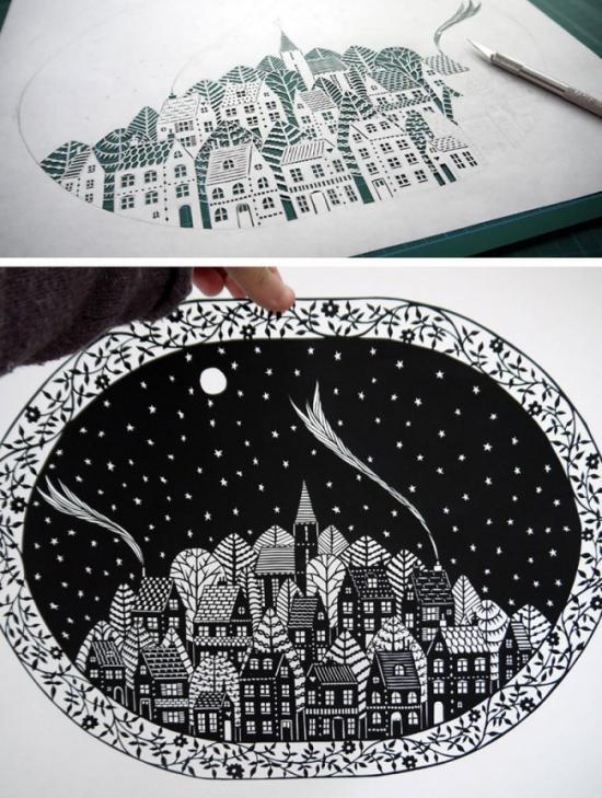 纯手工切割的图案:刀刻画艺术