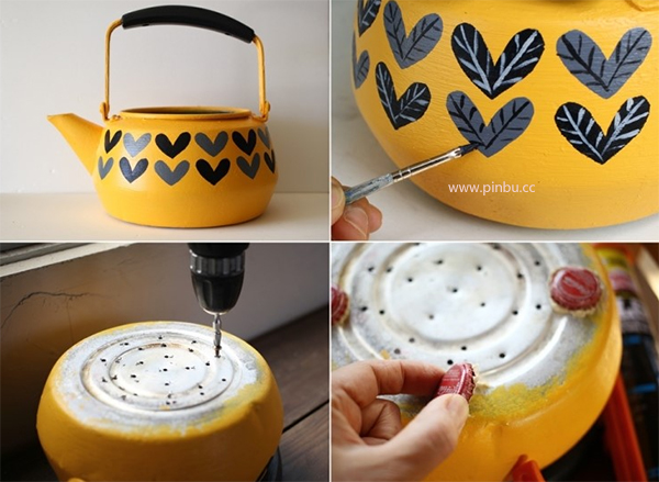 利用废旧茶壶制作属于自己的个性花盆