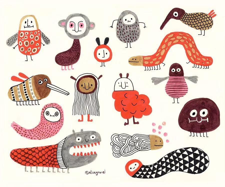 创意的小动物手绘