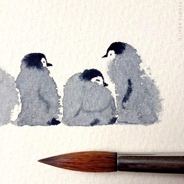 国画 超萌小企鹅